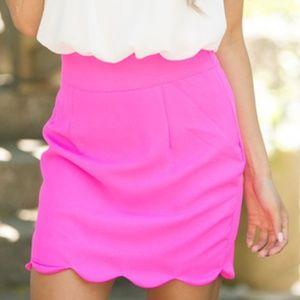 Skirts - Hot Pink Scalloped Skirt